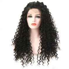 Curly Syntetisk Lace Front Parykar 360g