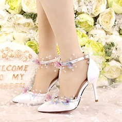 Women's Satin Stiletto Heel Closed Toe Pumps With Rhinestone (047113690)