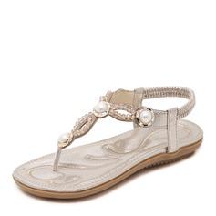 Femmes Similicuir Talon plat Sandales À bout ouvert Escarpins avec Strass Perle d'imitation Élastique chaussures
