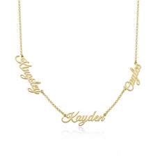 [Free Shipping]Custom 18k Gold Plated Letter Three Name Necklace - Birthday Gifts