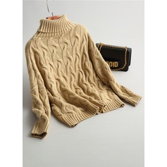 Plain Cable-knit Knit Turtleneck Sweater Sweaters (1002157798)