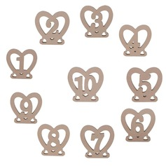 "Heart Shaped/""Sweet Heart"" Heart Shaped Wooden Table Number Cards"
