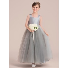 Sweetheart Floor-Length Tulle Junior Bridesmaid Dress With Bow(s)