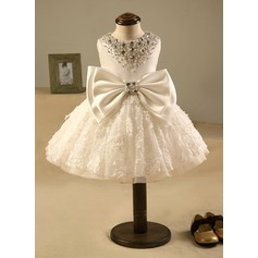 Ball Gown Knee-length Flower Girl Dress - Polyester/Cotton Sleeveless Scoop Neck With Beading/Bow(s)/Rhinestone