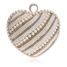 Unique Polyester/Imitation Pearl Clutches