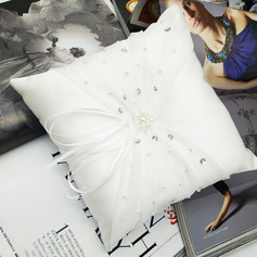 Classic/Delicate Cloth Ring Pillow With Ribbons/Rhinestones