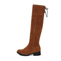 Women's Suede Low Heel Closed Toe Boots Knee High Boots With Bowknot shoes