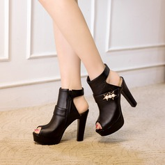 Women's PVC Chunky Heel Pumps Platform With Imitation Pearl shoes