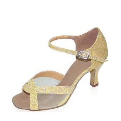 Women's Sparkling Glitter Heels Sandals Latin With Buckle Dance Shoes