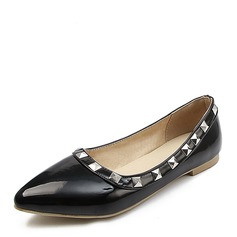 Women's Patent Leather Flat Heel Flats Closed Toe With Rivet shoes