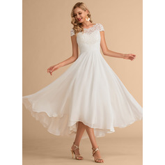 Scoop Neck Asymmetrical Chiffon Wedding Dress (265230832)