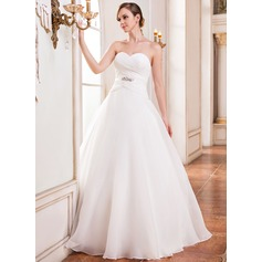 Ball-Gown Sweetheart Floor-Length Organza Wedding Dress With Ruffle Beading Sequins