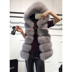 Faux Fur Sleeveless Plain Vest Coats (1004161775)