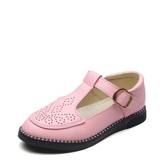 Girl's Closed Toe Leatherette Flat Heel Flats Flower Girl Shoes With Velcro Hollow-out