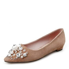 Women's Suede Flat Heel Flats With Imitation Pearl