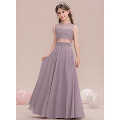 A-Line/Princess Scoop Neck Floor-Length Chiffon Junior Bridesmaid Dress (009119582)