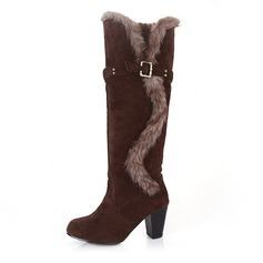 Women's Leatherette Chunky Heel Pumps Closed Toe Boots shoes