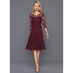A-Line/Princess V-neck Knee-Length Chiffon Cocktail Dress With Ruffle (016140385)