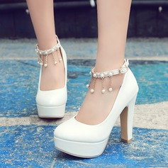 Women's PVC Chunky Heel Pumps Platform With Chain Tassel shoes