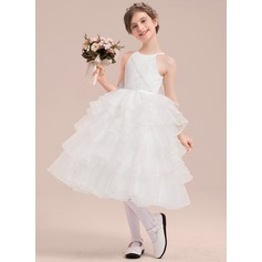A-Line/Princess Tea-length Flower Girl Dress - Organza/Satin/Tulle Sleeveless Scoop Neck With Beading/Flower(s)