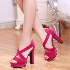 Women's Suede Stiletto Heel Sandals Platform Peep Toe shoes (117125208)