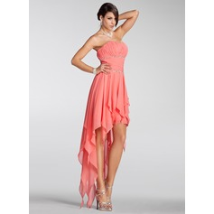 A-Line/Princess Strapless Asymmetrical Chiffon Holiday Dress With Beading Cascading Ruffles (020005298)