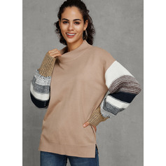 Couleurs Opposées Gros tricot Polyester Col rond Pull-overs Pulls (1002221127)