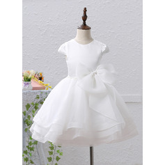 A-Line/Princess Knee-length Flower Girl Dress - Organza/Satin Short Sleeves Scoop Neck With Beading/Bow(s)