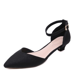 Women's Microfiber Leather Low Heel Pumps Closed Toe With Buckle shoes