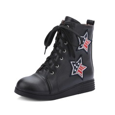 Women's Leatherette Flat Heel Ankle Boots Riding Boots With Braided Strap shoes