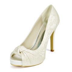 Women's Lace Satin Stiletto Heel Peep Toe Platform Pumps With Satin Flower