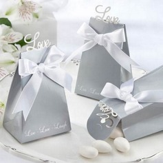 """Love"" Pyramid Favor Boxes With Ribbons"