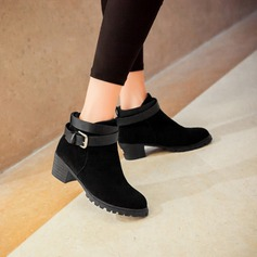 Women's Leatherette Low Heel Platform Closed Toe Ankle Boots With Buckle Ruched shoes