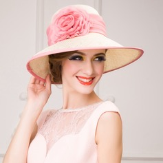 Ladies' Glamourous Summer Cambric With Silk Flower Straw Hat