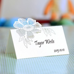 Flower Design Pearl Paper Place Cards
