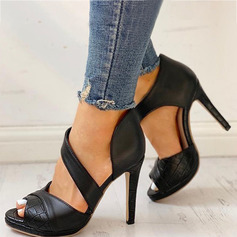 Women's PU Stiletto Heel Pumps Peep Toe With Ruched shoes