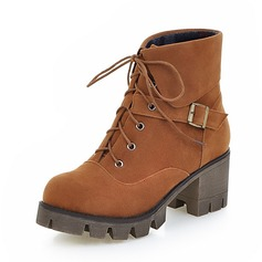 Women's Suede Chunky Heel Boots Ankle Boots With Lace-up shoes
