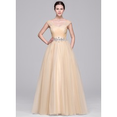 Ball-Gown V-neck Floor-Length Tulle Evening Dress With Ruffle Beading Appliques Lace Sequins