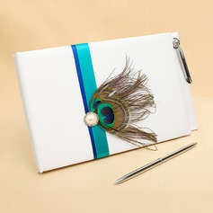 Peacock Feather Faux Pearl/Feather Guestbook (101060149)
