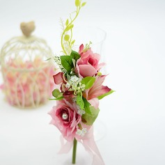 Sweet Round Artificial Silk Boutonniere