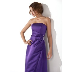 A-Line/Princess Sweetheart Floor-Length Satin Bridesmaid Dress With Ruffle Beading