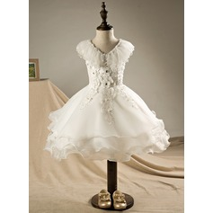 A-Line/Princess Knee-length Flower Girl Dress - Polyester/Cotton Sleeveless V-neck With Ruffles/Beading/Appliques/V Back