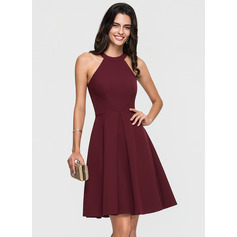 A-Line Scoop Neck Knee-Length Stretch Crepe Homecoming Dress With Ruffle (300244193)