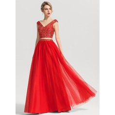 Ball-Gown V-neck Floor-Length Tulle Prom Dresses With Beading Sequins