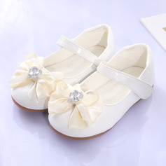 Jentas Round Toe Lukket Tå Leather flat Heel Flate sko Flower Girl Shoes med Bowknot Velcro
