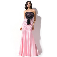 Trumpet/Mermaid Strapless Floor-Length Charmeuse Lace Evening Dress With Lace Bow(s)