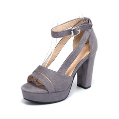 Women's Suede Chunky Heel Pumps Platform Peep Toe shoes