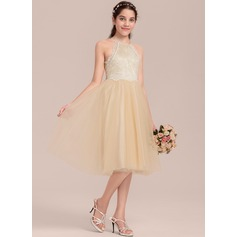Knee-length Flower Girl Dress - Tulle Lace Sleeveless Scoop Neck (269197767)