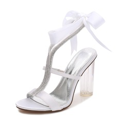Women's Silk Like Satin Chunky Heel Peep Toe Pumps Sandals MaryJane With Rhinestone Ribbon Tie
