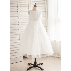 A-Line/Princess Floor-length Flower Girl Dress - Tulle Sleeveless Scoop Neck With Appliques/Flower(s)/Sequins/Bow(s)/V Back